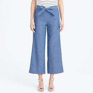 J. Crew Chambray Tie Waist Cropped Pants